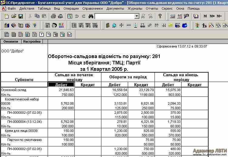 Настройка вывода остатков 1с 7.7 обновление справочников банков 1с